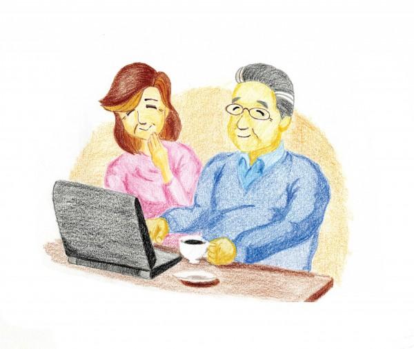 夫婦でパソコン