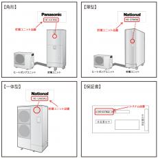 ナショナル、パナソニック 家庭用ヒートポンプ給湯機(エコキュート)無料点検・部品交換のお知らせの画像