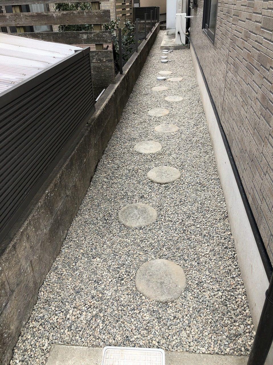 建物廻りに防草シート、川砂利を敷きました。
